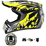 TFEL Casco Motocross,Casco Todo Terreno para Moto de Cross con Gafas de...