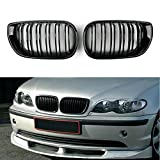DYBANP Grille Grill Car Styling Gloss Black Front Kidney Double Slat Grill Grille para BMW E46 4 Puertas 4D 3 Series 2002 2003 2004 2005 Decoración