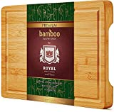 """Organic Bamboo Cutting Board with Juice Groove - Kitchen Chopping Board for Meat (Butcher Block) Cheese and Vegetables (Thick - 15"""" x 11"""")"""