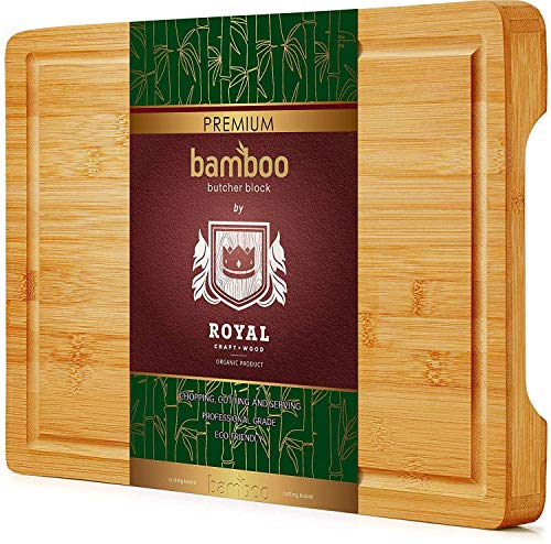 Organic Bamboo Cutting Board with Juice Groove - Best Kitchen Chopping Board for Meat (Butcher Block) Cheese and Vegetables   Anti Microbial Heavy Duty Serving Tray w/Handles (Thick)