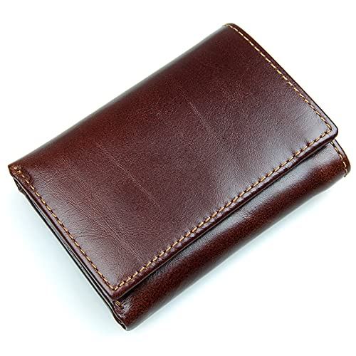 TTWLJJ Cartera Hombre,Porta Tarjetas de Crédito y Cartera - con Protección RFID Cartera de Viaje Corta Vintage Embrague,Dark Brown