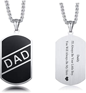 MEALGUET Stainless Steel DAD Tag Pendant Necklace Personalized Message Backside Customized Gift to Dad Dogtag Necklace Jewelry with Wheat Chain