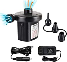 FBve Electric Air Pump, 100-240V AC/12V DC Portable Electric Air Mattress Pump, Quick-Fill Inflator/ Deflator with 3 Nozzles for Outdoor Camping, Inflatable Cushions, Air Mattress Beds, Boat