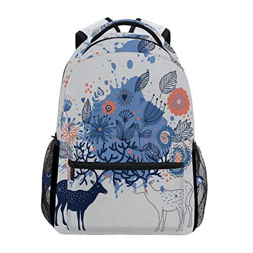 poiuytrew Elks with Flowers in Antler Backpack Students Shoulder Bags Travel Bag College School Backpacks