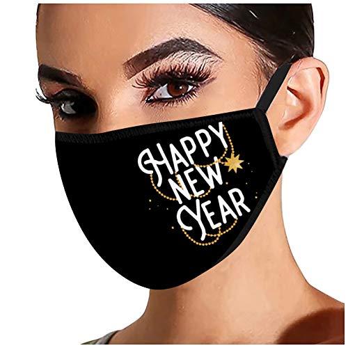 1 Piezas m_ascarillas r_eutilizables Mujer Negras algodón Cara Suave m_áscaras cómodas impresión de año Nuevo elástica y Transpirable