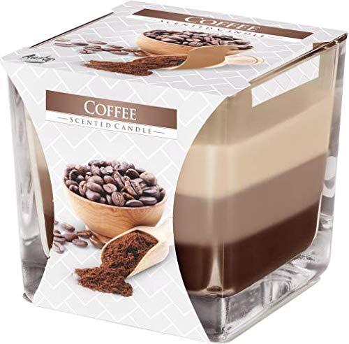 DREIFARBIGE DUFTKERZEN IM GLAS, Duft:Kaffee