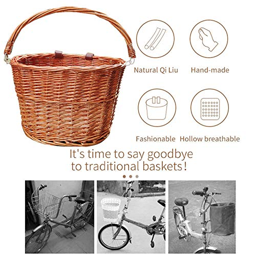 Wicker Bicycle Basket Front Basket Bicycle Basket for Children Braided Wicker Basket Hanging Basket Front Bicycle Accessories for Unisex Children Teens
