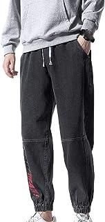 YYXDP Pantaloni in Denim Stile Jogger con Vita Elasticizzata da Uomo, Pantaloni Larghi Plus Size con Cravatta all-Match Pa...