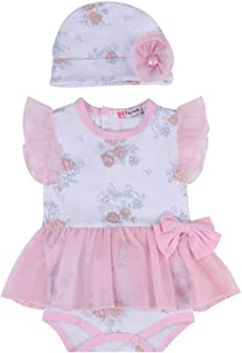 Fairy Baby Infant Baby Girls Outfit Set 2pcs Clothes Set Floral Romper Dress with Hat