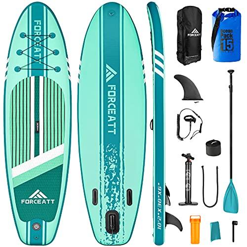 """Forceatt Tabla Paddle Surf Hinchable,335 x 84x 15cm Tabla de Surf Adecuada para un Peso Máximo de 124 kg,Sup Está Equipada con una Paleta Flotante de 64-85""""y una Bomba Manual Rápida de Dos Vías."""