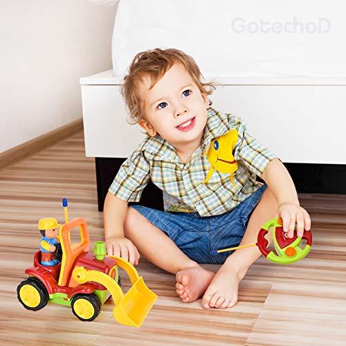 RC Auto kaufen Baufahrzeug Bild 2: Gotechod Ferngesteuerter Bagger, Cartoon RC Radlader mit Licht Musik Greifer, Spielzeugauto mit Fernbedienung für Kleinkind Kinder ab 2 Jahren*