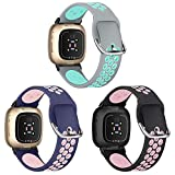 XIMU Silicone Bands Compatible with Fitbit Versa 3 & Sense, 3-Pack Breathable Soft Sport Wristband Watch Band Women Men Sweatproof Workout Replacement Watch Strap Wrist Strap for Versa 3 Smart Watch