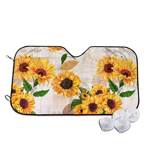 Sunflowers and Pictures Automotive Windshield Sunshades, Durable Durable Windshield Sun Shades for Car Auto Truck SUV,