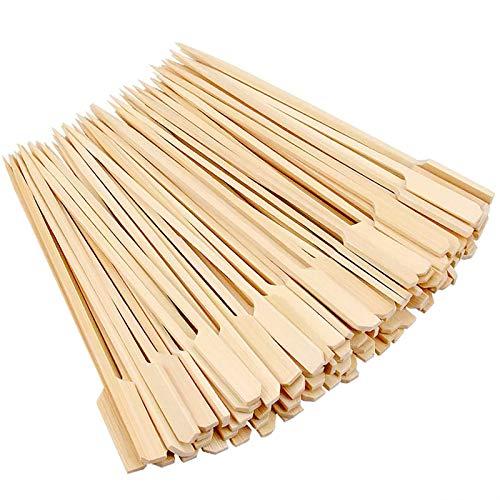 yyuezhi Schaschlikspieße Holz Zahnstocher Naturholzspieße Bambus Lang Zahnstocher aus Bambus Perfekt für Sommer Grillen Grill Schachlik Pfanne Cocktail Fleisch Früchte Burger Parteien 200Pcs