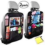Car Organisers,Car Back Seat Organiser,Car Tablet Holder,Waterproof Backseat Cover 5 Storage Pockets,Kids Kick Mats,Seat Back Protectors with 10'iPad Holder,Family Road Trip Travel Accessories(2pack)