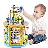 MHCYKJ Centro de Actividades para niños pequeños para Juguetes de Cubo, 8 en 1, clasificación de Cubos de Actividades de Madera y reconocimiento de Colores, Juego de Cuentas, Juguetes para niños