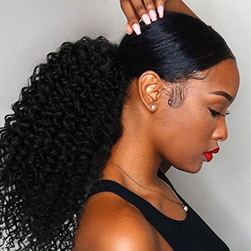 Vigorous Curly Ponytail Extension for Black Women Drawstring Ponytail Curly for African Women Short Afro Kinky Ponytail Extension.(1B)