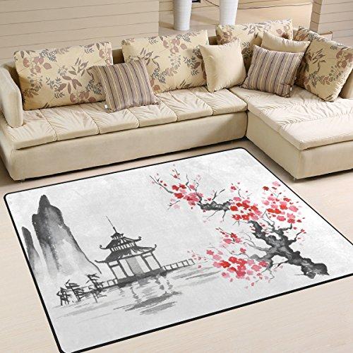 Use7 Tapis traditionnel japonais pour salon et chambre à coucher Motif fleurs de cerisier 160 x 122 cm