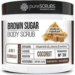 Premium BROWN SUGAR Body Scrub Exfoliating Set - Large 16oz COCONUT SCRUB For Face & Body, Infused Organic Essential Oils & Nutrients + FREE Wooden Stirring Spoon, Loofah & Mini Exfoliating Bar Soap