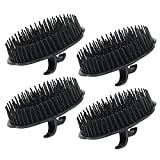 4pcs Scalp Massager Shampoo Brush, Segbeauty Massage Hair Brush Floriated Shower Comb for Deep Cleaning Hair Men's Hand Brush Growth Beard Brush Pet Grooming Brushes - Black