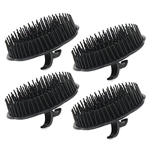 Segbeauty Kopfhaut Massager Shampoo Pinsel, 4 Stück Shampoo Massagebürste Floriated Dusche Kamm, Kopfmassagebürste für Haarwachstum Bart Bürste Hundesalon Bürsten - Schwarz