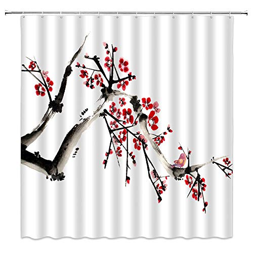 BLZQA rote Pflaume Duschvorhang, Grün Antischimmel Duschvorhänge Textil Wasserdicht Shower Curtains Badewanne Waschbar mit 12 Haken, 180 x 180 cm