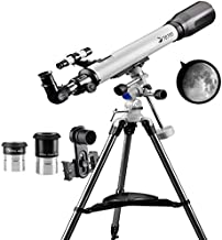 Telescope 70EQ Refractor Telescope Scope - 70mm Aperture and 700mm Focal Length, Multi-Layer Green Film, with Digiscoping ...