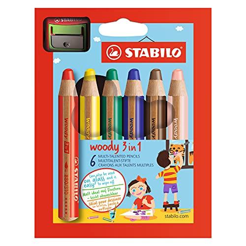 Buntstift, Wasserfarbe & Wachsmalkreide - STABILO woody 3 in 1 - 6er Pack mit Spitzer - mit 6 verschiedenen Farben