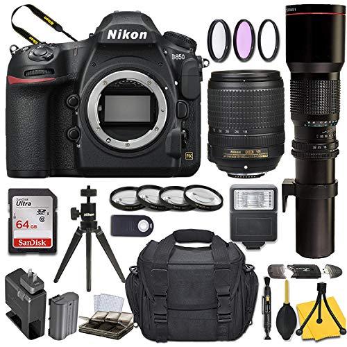 Nikon D850 DSLR Camera with AF-S DX NIKKOR 18-140mm f/3.5-5.6G ED VR + 500mm Preset Lens and Basic Travel Kit