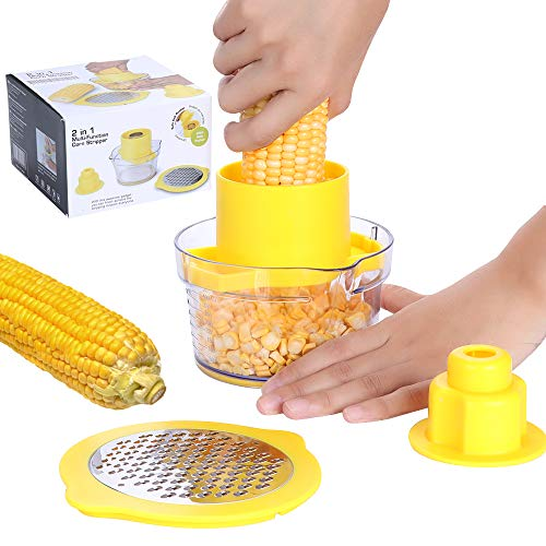 Beaverve Corn Stripper, 4 in 1 Corn Shucker Tool Corn Holder, Corn Stripping Tool Corn Cutter & Remover with Built-In Measuring Cup Grater, Corn Kernel Remover Ginger Grater, No Electricity No Noise