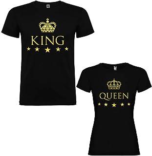 Pack de 2 Camisetas Negras para Parejas, King y Queen, Dorado