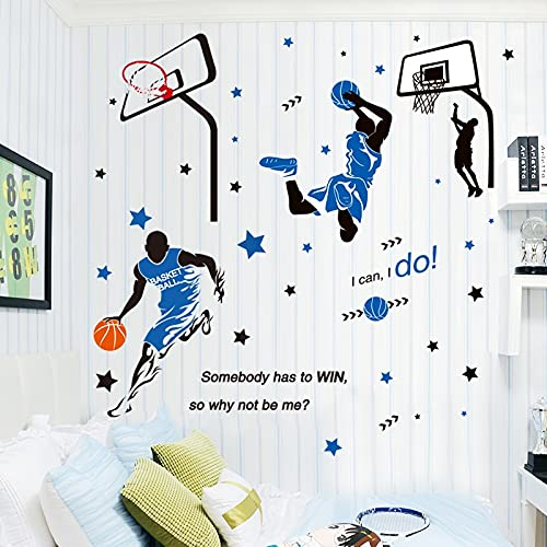 Pegatina de pared de baloncesto para jugar, calcomanías de pared deportivas para jugador de pelota DIY para habitación de niños, decoración de guardería