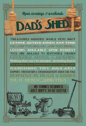 Dads Shed Papa Schuppen Rules Regeln Tin Sign Metal Shield Shield Arched Metal Tin Sign 20 x 30 CM
