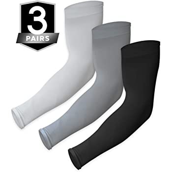 UV Sun Protection Arm Sleeves - Cooling Compression Sleeves for Men & Women - UPF 50 Arm Cover/Shield for Basketball, Running, Cycling, Golf, Volleyball, Baseball, Football & Other Outdoor Sports