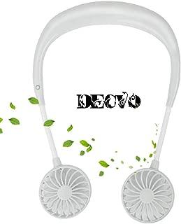 Hand Free Personal Fan - Portable USB Battery Rechargeable Mini Fan - Headphone Design Wearable Neckband Fan Necklance Fan Cooler Fan with Dual Wind Head for Traveling Outdoor Office Room White