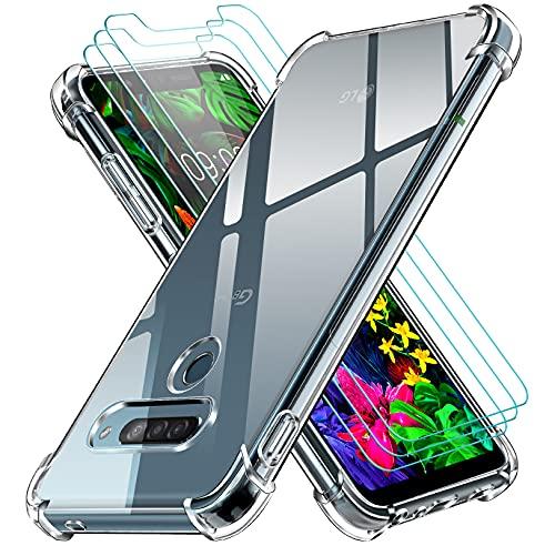ivoler Klar Hülle für LG G8S ThinQ mit 3 Stück Panzerglas Schutzfolie, Dünne Weiche TPU Silikon Transparent Stoßfest Schutzhülle Durchsichtige Kratzfest Handyhülle Hülle