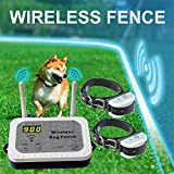 Wireless Dog Fence Containment System, Safe Vibrate/Shock Dog Fence, Adjustable Control Range Display Distance, Rechargeable Waterproof Collar (Wireless Dog Fence, 1 Transmitter + 2 Collar Receiver)