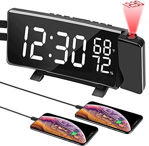 J & J Proyección de Relojes de Alarma Digital para dormitorios, Reloj de Alarma Digital LED con Radio FM y Puerto de Carga USB/Brillo Ajustable/conmutación de 3 Colores