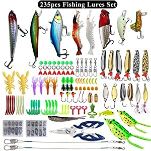 235pcs Fishing Lures Set Include Crankbaits Frog Lure Topwater Lures Jigs with Tackle Box Fishing Gear Equipment for Freshwater Saltwater Trout Bass Salmon Fishing Baits Kit (with Free Fishing Pliers)