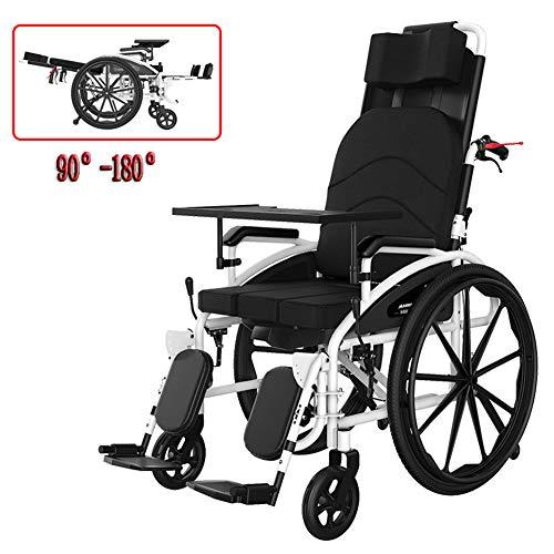 LAYG Rollstuhl Faltrollstuhl Selbstfahren,Rollstuhl Faltbar 90-180 ° Einstellung Rollstuhl,Rollstuhl auf Trage, Liegend,Essteller + Toilettenkasten/Schwarz