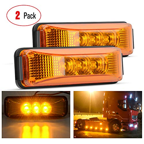 Nilight - TL-16 2PCS 3.9 Inch 3 LED Truck Trailer Amber Light Front Rear LED Side Marker Lights Clearance Indicator Lamp Perfect Sealed Waterproof Surface Mounted LED Marker Light, 2 Years Warranty