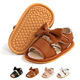 TAREYKA Infant Baby Boy Girl Summer Sandals Non Slip Soft Sole Open Toe Toddler First Walker Crib Dress Shoes 0-18 Months(6-12 Months Infant C/brown)