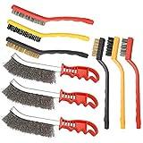 9 cepillos de alambre (acero, latón y nailon) para limpiar la escoria de...