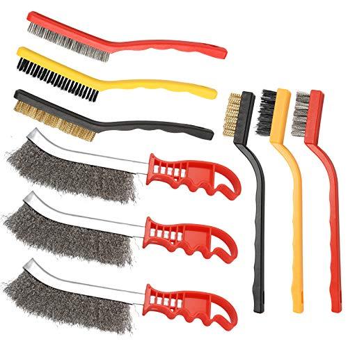 9 cepillos de alambre (acero, latón y nailon) para limpiar la escoria de soldadura y el óxido