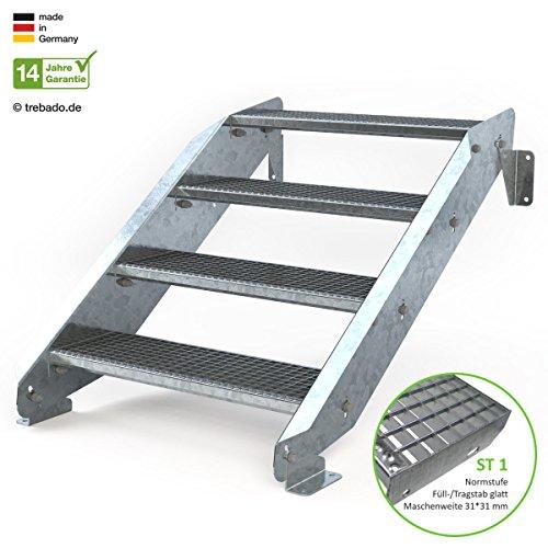 Außentreppe 4 Stufen 80 cm Laufbreite - ohne Geländer - Anstellhöhe variabel von 62 cm bis 84 cm - Gitterroststufe ST1 - feuerverzinkte Stahltreppe mit 800 mm Stufenlänge als montagefertiger Bausatz