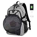 Therm La Mode Backpack for Football and Basketball, Fits up to 15.6-17 Inch Laptop with USB Charging Port, Anti-Theft Metal Buckle, Water Resistant Rucksack, Great for College School Business Men