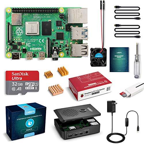 LABISTS Raspberry Pi 4 4GB Starter Kit with 32GB Micro SD Card Preloaded Raspberry Pi OS (Raspbian), Black Case, Heatsinks, Fan, Micro HDMI Cable x 2, SD Card Reader (4GB RAM)