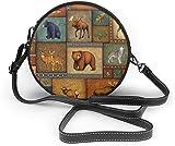 Bolso redondo mujer Women Soft Leather Zipper Round Shoulder Bags - Rustic Wildlife Bear Deer Moose Wolf Sling Bag