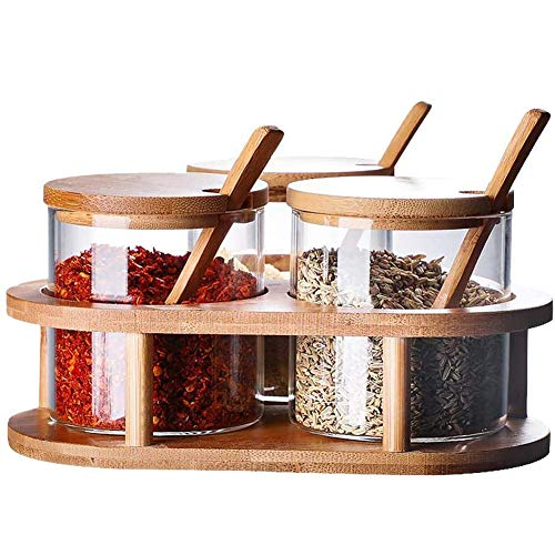 Spice houder gemaakt van glas, kruiden fles set met bamboe lepel en deksel, 3 stuks keuken waren kruidcontainers specerijen set,