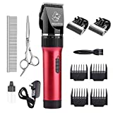 Maxshop Dog Clippers Cat Shaver, Professional Low Noise Rechargeable Cordless Hair Grooming Electric Clipper with Comb Guides Scissors for Dog Trimmer Pet Grooming Dogs(2 Blades)(Red)